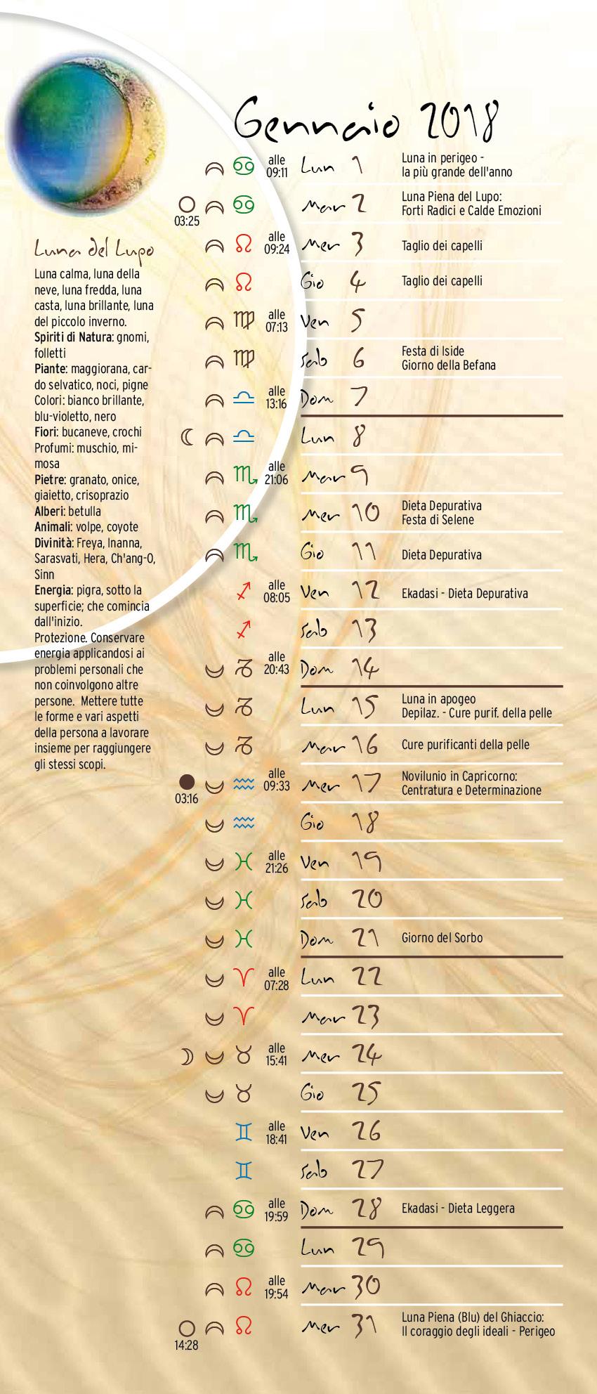 Simboli Luna Calendario.Calendario Lunare Lunario Gennaio 2018