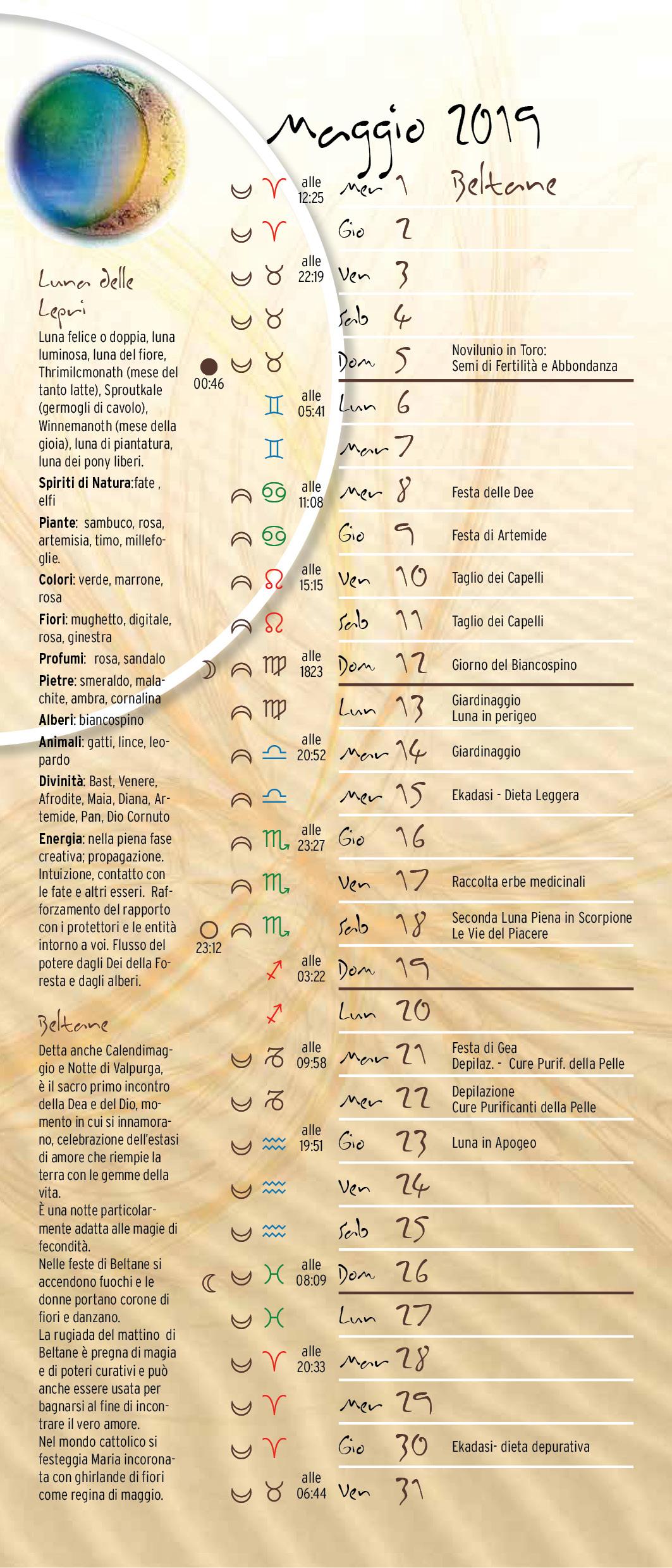 Simboli Luna Calendario.Calendario Lunare Maggio 2019