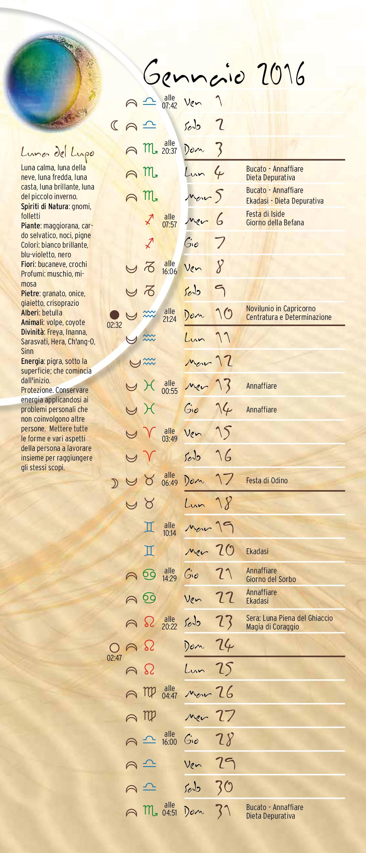Calendario 2016 Astrologici Segni