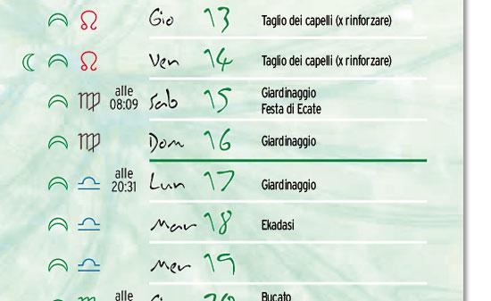 Il calendario lunare qui pubblicato non è nella versione stampabile.